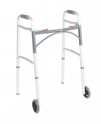 Drive Medical Deluxe Folding Walker, Two Button with 5