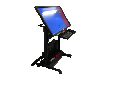 ELFM Mobile workstation complete with PC, webcam and all electric tilt and lift