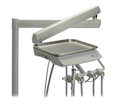 BDS Beaverstate S-5325 2 Handpiece Automatic Post Mount Hygiene System with Telescoping Arm Pivoting Tray Mount Assembly (Straight Tubing)