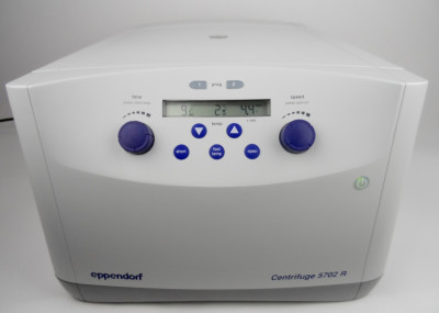 Eppendorf Centrifuge 5702R with A-4-38 Swing Bucket Rotor, Buckets, Cups, and Inserts.