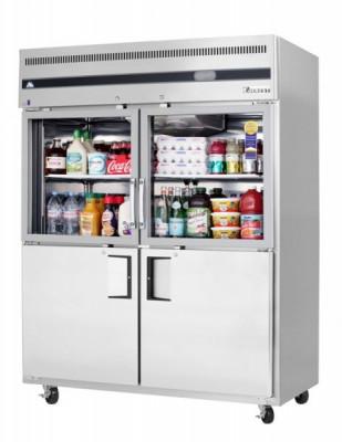 Everest EGSWH4 2 Wide Section - 4 Half Door Refrigerator, Top Glass & Bottom Solid, 59in.