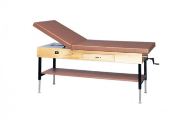FEI 15-1201 Manual Hi-Lo Upholstered Treatment Table W/Adjustable Back, Shelf And Drawer, 30