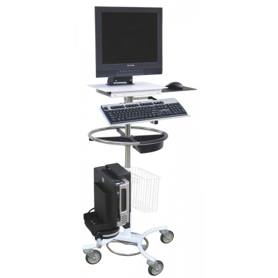 Omnimed Omni Computer Security Stand W/ Optional Cord Wrap or Cord Reel (W/ Cord Wrap)