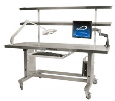 Pedigo CDS-1100 Hydraulic Height-Adjustable Instrument Assembly Station W/ 10-Degree Slope Shelves