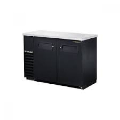 True TBB-24-48-HC 2-Door Black Vinyl Back Bar Cooler Restaurant Refrigerator