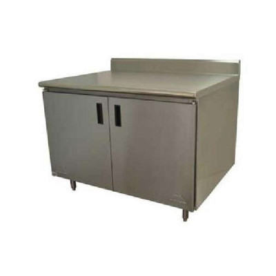 Advance Tabco HK-SS-244 Hinged Doors Enclosed Base Work Table w/ Backsplash | 48