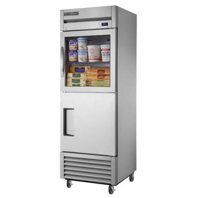 True T-23-1-G-1-HC~FGD01 2-Half Glass/Solid Doors Bottom Mount Reach-In Refrigerator (Right Hinged)
