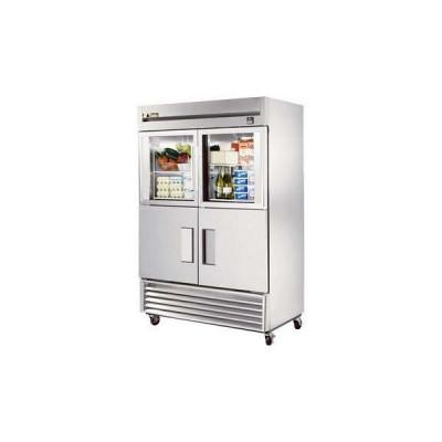 True TS-49-2-G-2-HC~FGD01 4-Half Glass/Solid Doors Bottom Mount Reach-In Refrigerator | 49 cu ft