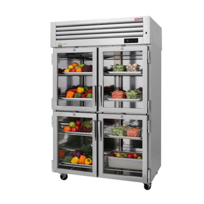 Turbo Air PRO-50-4R-GS-PT-N 8 Glass & Solid Half Door Pass-Thru Refrigerator | 48.7 Cu. Ft.