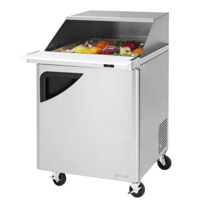 Turbo Air TST-28SD-12-N-SL Refrigerated Counter Mega Top Sandwich / Salad Unit W/ Slide Back Lid