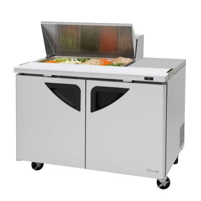 Turbo Air TST-48SD-08S-N 2-Door Refrigerated Counter Sandwich / Salad Unit | (8) 1/6 Pan