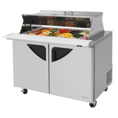 Turbo Air TST-48SD-18-N-DS Refrigerated Counter Mega Top Sandwich / Salad Unit | (18) 1/6 Pan