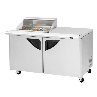Turbo Air TST-60SD-12M-N-CL Clear Lid Refrigerated Counter Mega Top Sandwich / Salad Unit | (12) 1/6 Pans