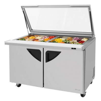 Turbo Air TST-60SD-24-N-GL Glass Lid Refrigerated Counter Mega Top Sandwich / Salad Unit | (24) 1/6 Pans