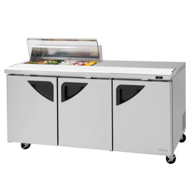 Turbo Air TST-72SD-10S-N-CL Clear Lid Refrigerated Counter Sandwich / Salad Unit | (10) 1/6 Pans