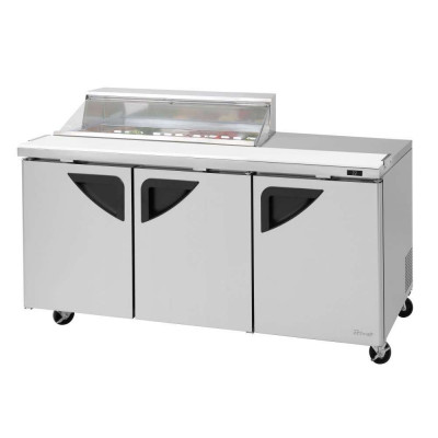 Turbo Air TST-72SD-12S-N-CL Clear Lid Refrigerated Counter Sandwich / Salad Unit | (12) 1/6 Pans