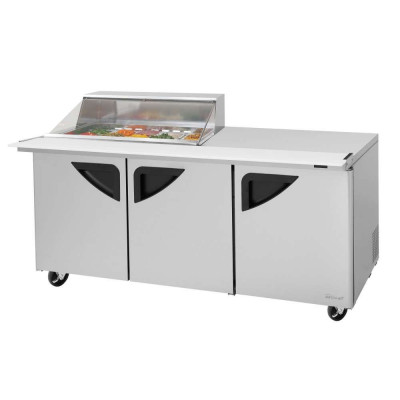 Turbo Air TST-72SD-15M-N-CL Clear Lid Refrigerated Counter Mega Top Sandwich / Salad Unit | (15) 1/6 Pans