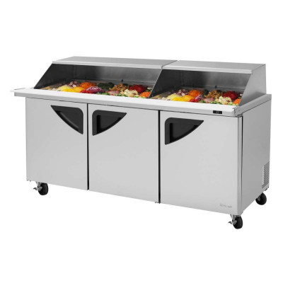 Turbo Air TST-72SD-30-N-SL Slide-Back Lid Refrigerated Counter Mega Top Sandwich / Salad Unit | (30) 1/6 Pans