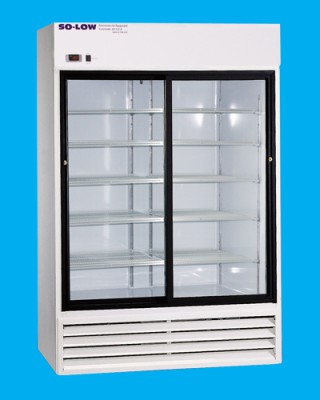 So-Low Laboratory and Pharmacy Refrigerator - White Coated Steel (2 Sliding Glass Doors) (38 cu ft)