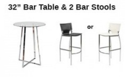 Furniture Rental Package - 32 inch Bar Table with 2 Bar Stools