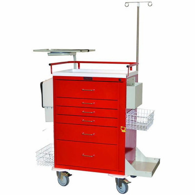 HARLOFF OPT7B OPTIMAL SEVEN DRAWER EMERGENCY CART, STAND. PACKAGE, ALUMINUM CONSTRUCTION