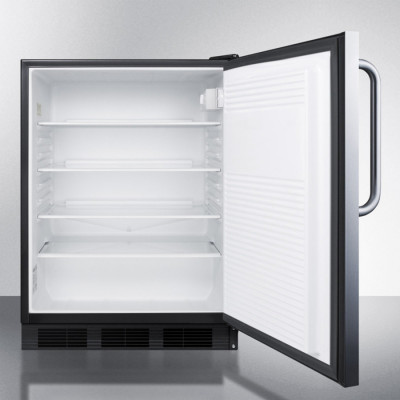 Summit Appliance Commercial FF7BBISSTB Black Counter-Height 5.5 Cu. Ft. All-Refrigerator W/ Adjustable Glass Shelves