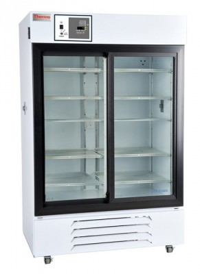 Thermo Scientific General Purpose Refrigerator, 45 cu ft, White, Glass Door, Chart Recorder