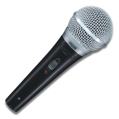 Shure PG48 Wired Microphone, Handheld, with K&M Boom Stand