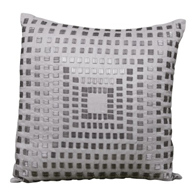 Silver with Beading in Squares Pillow