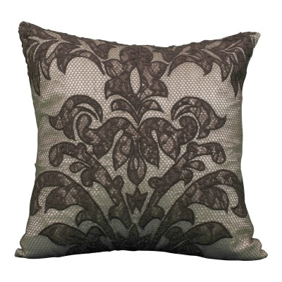 Black Lace Overlay Damask Pattern Pillow
