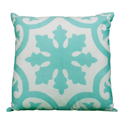 Aqua & White Patterned Pillow