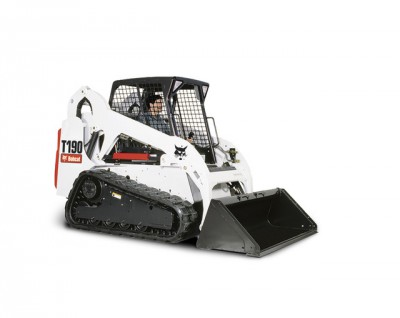 Bobcat T190 Track Machine  with 1 Cubic Yard Bucket, 1 Grading Bucket, Forks