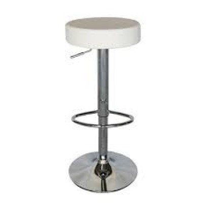 White Chrome Swivel Stool (Adjustable)