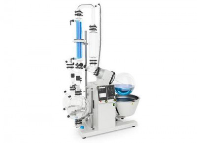 Buchi Rotavapor R-220 Pro Rotary Evaporator 200V Oil and Water Bath D2-Descending with Secondary Condenser 10 L Evaporating Flask and Two Receiving Flasks